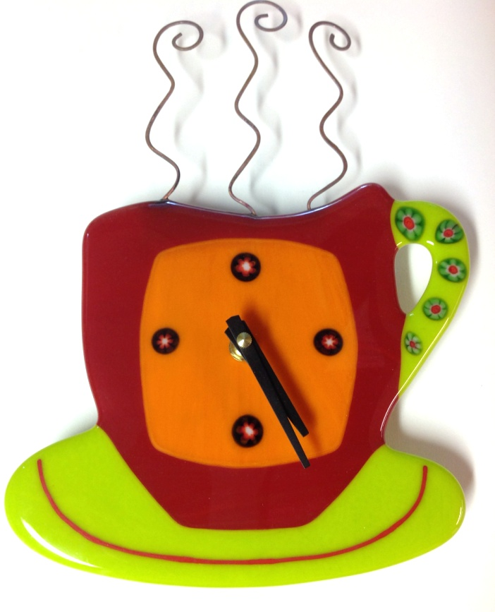 Coffee Cup Wall Clock Red Break Time