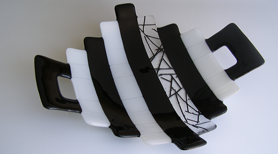 Fused Glass Serving Platter- B&W Serving-Contemp