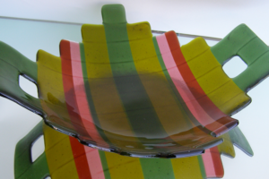 Fused Glass Serving Platter- Green