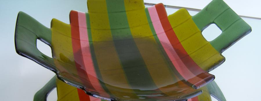 Fused Glass Serving Platter- Green