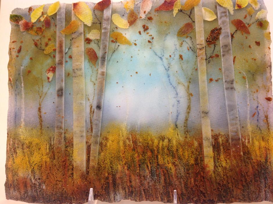 Autumn Woods Frit Painting