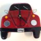 "VW Bug Wall Clock- Red ""I Love Bugs"""