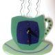 """Coffee Cup Wall Clock- Green """"Break Time"""""""