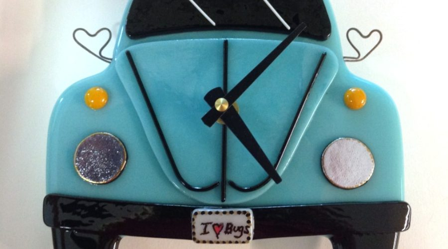 "VW Bug Wall Clock- Teal ""I Love Bugs"""