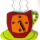 "Coffee Cup Wall Clock- Red ""Break Time"""