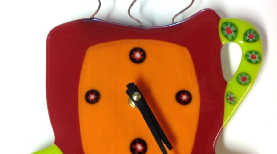 Coffee Cup Wall Clock- Red