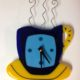 "Coffee Cup Wall Clock- Blue ""Break Time"""