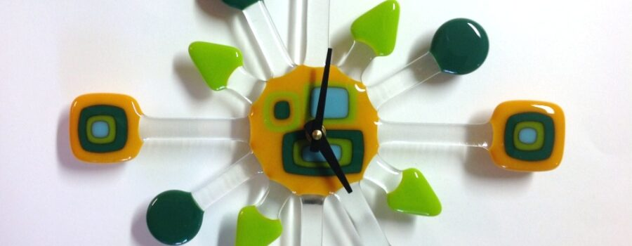 Geo-Retro Glass Wall Clock- Gold
