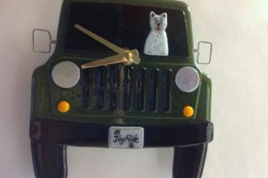 Jeep Wall Clock with Westie at the Wheel