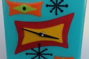 Retro Wall Clock- Starburst Aqua