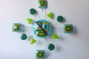 Geo Retro Glass Wall Clock- Aqua