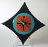 Retro Diamond Wall Clock- Aqua