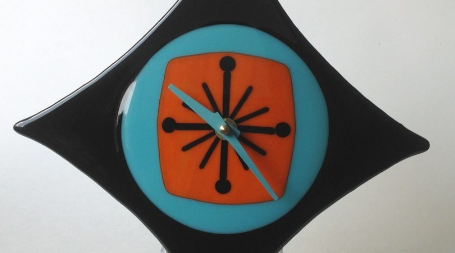 Retro Diamond Wall Clock- Aqua