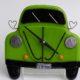 "VW Bug Wall Clock- Lime ""I Love Bugs"""
