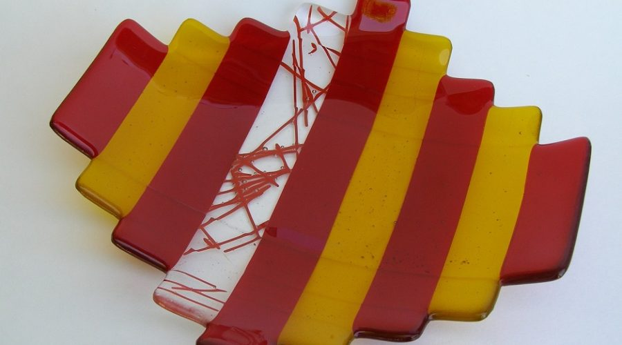 Fused Glass Plate- Red & Yellow
