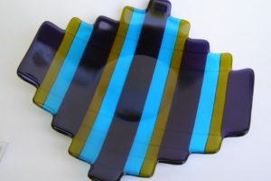 Fused Glass Plate- Blue & Olive